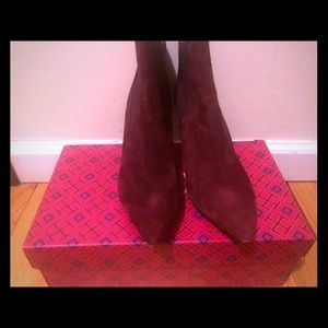 Tory Burch Burgundy Ankle Boots